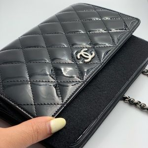 Authentic Chanel black patent leather quilted